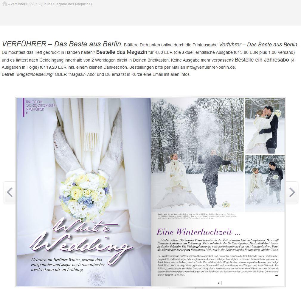 Zeitschriftenausgabe der Verführer mit einem Artikel über den Hochzeitsfotograf Marc Birkhoelzer Berlin www.hochzeitsaufnahmen.com