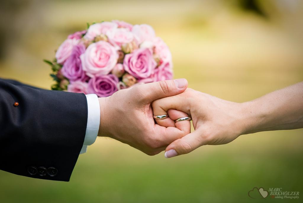 Die Eheringe in den Händen des Hochzeitspaares und einem zufällig gelandeten Marienkäfer auf dem Hochzeitsanzug aufgenommen vom Hochzeitsfotograf Berlin Marc Birkhoelzer www.hochzeitsaufnahmen.com