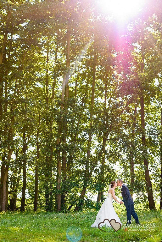 Brautpaar-Fotoshooting im Wald vor dem Panoramahotel Uckermark aufgenommen vom Berliner Hochzeitsfotografen Marc Birkhölzer - Hochzeitsfotograf Berlin www.hochzeitsaufnahmen.com
