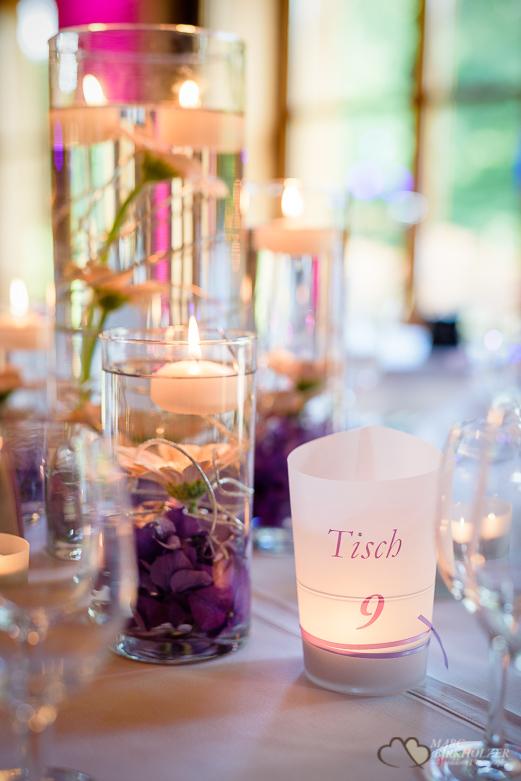 Tischdeko bei einer Hochzeit