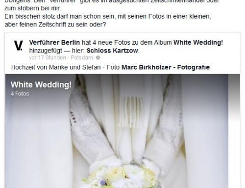 """Die Facebook-Seite vom """"Verführer Berlin"""" mit einem Artikel über Winterhochzeiten"""